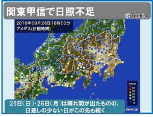 関東甲信の日照 1961年以降 最少(日直予報士) - tenki.jp