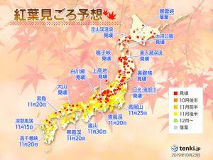 第2回 2019年紅葉見ごろ予想発表!(日直予報士 2019年10月23日) - 日本気象協会 tenki.jp