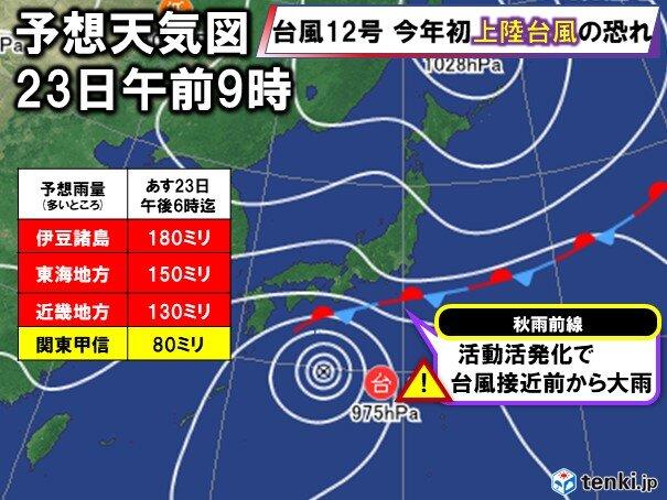 連休明けの列島を襲う台風12号 9月平年一か月超の雨量も(日直予報士 2020年09月22日) - 日本気象協会