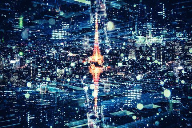(c)カズキヒロ ぱたくそ「東京タワーと都市夜景」(フリー素材)